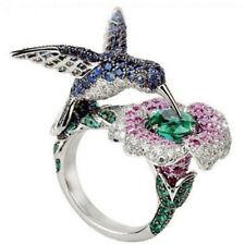 6.5 ct Green&Blue&Pink Sapphire Hummingbird 925 Silver Wedding Ring Size 67 8910