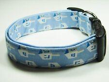 Charming Hanukkah Blue Dreidels Jewish Holiday Dog Collar