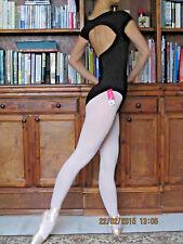 Lady girl women ballet dance cap sleeved black leotard - New