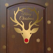 Natale Renna Rudolph Corna Naso Rosso Finestra Parete Sticker Vinyl Decal Shop