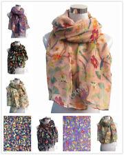Women Ladies Long Fashion Soft Flower Bird Print Pattern Shawl Scarf Scarves
