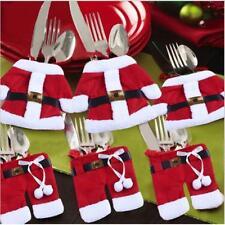 Cute Christmas Red Santa Claus & Snowman Cutlery Holder Bags Fork Spoon Bag - 6A