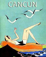 Girl Beach of Cancun Birds Mexixo Travel Tourism 16X20 Vintage Poster FREE S/H