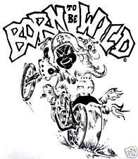 Childrens Kids Toddler Baby Biker Slogan White T-shirt  - Born To Be Wild