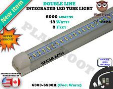 8 FEET Integrated 48 WATT T8 CLEAR LENS Double Line LED 6500K Tube Light