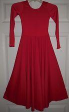 NWOT Dance Red Long Sleeve Spandex Full Circle Praise Dress Adlt/Ch Szs 76176