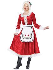 Classic Mrs Claus Santa Christmas Fancy Dress Up Long Dress Womens Costume