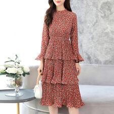 Elegante vestito abito beige fiori rosso maniche scampanato slim morbido  4236 11b7f38e273