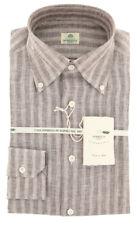 New $450 Luigi Borrelli Brown Striped Shirt - Extra Slim - (LB5BRN)