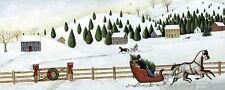 DAVID CARTER Marrón: Christmas Valley Trineo bastidor de cuña - IMAGEN LIENZO