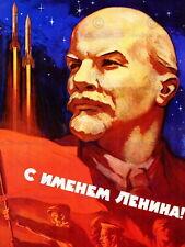 87486 POLITICAL SOVIET UNION LENIN ROCKET SPACE Decor WALL PRINT POSTER CA