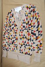 Angie Cardigan Diamond Print Beige 100% Cotton Choose Size BNWT