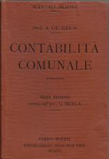 A. DE BRUN /  GIOVANNI MERLA _CONTABILITA' COMUNALE _ MANUALE HOEPLI 1921