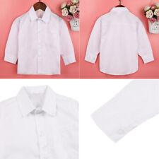 Kid Boy School Formal Dress Shirt White Long Sleeve Button Up Party Wedding Teen