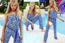 $188 Lilly Pulitzer Tia Santorini Blue Beach Break Engineered Strapless Jumpsuit