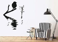Decor Wall Sticker Vinyl Decal Bird on Branch Water Waves Reed (n103)