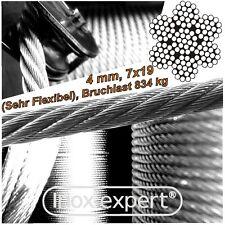 VA-Seil 4,0 mm 7X19 Edelstahl A4 Drahtseil sehr flexibel Stahlseil weich NIROSTA
