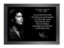 Michael Jackson Inspirational Autographed Quote Poster Black White Motivation