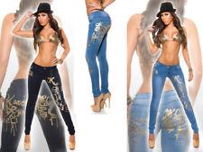 Jeans donna elasticizzati pantaloni denim stampa oro argento pants skinny moda