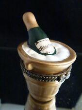 Champagne Bottle & Ice Bucket Cute! Trinket Box 2 7/8 Inch tall Mint!