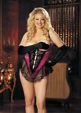 Seductive Satin Lace Open Bust Crotchless Teddy Plus Size Lingerie Adult Women