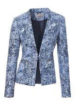 Blazer NEU Mandarin Gr.34,36,38,40,44 Damen Jacke Blau/Weiß Business Bouclé