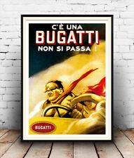 Bugatti,  Vintage  motoring advert poster reproduction.