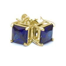 Sapphire Stud Earrings 2.5ct Diamond Unique Princess cut Solitaire 9ct Gold