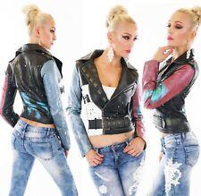 Damen Biker Jacke Kunstleder Leder Wet Look Bunt Farbflecken Punk Style  S M L