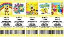 SPONGEBOB SQUAREPANTS Personalised Ticket Style Birthday Invitations