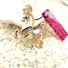 Betsey Johnson Gold Plated Enamel Crystal Horse & Flying Horse Necklace