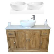 Oak Bathroom Vanity Unit 123cm Wide with White Quartz Top & Ceramic Bowl Set