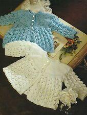 """Baby Lace Knitting Pattern 4ply  Matinee Jacket 16-18"""" 309"""