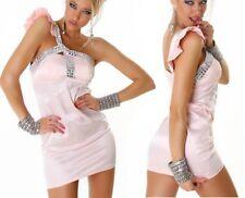 Damen Satin Abend Kleid Edel Steine one Shoulder S/M 34/36 M/L 36/38 rosa NEU