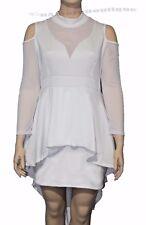 White  Mesh Trim Hi-Lo Wedding Gown Plus Size XXL XXXL Halloween Sale