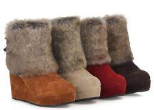 Botines botas zapatos de mujer de cuña 8.5 cm como piel cómodo caldi 9074