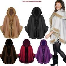 Women's Ladies Faux Fur Poncho Cape Celeb Trim Hooded Jacket Lush Wrap Coat 8-20