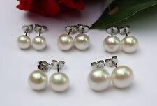 6 mm fino a 10 mm Naturale perle d'ACQUA DOLCE SET Gioielli Orecchini a farfalla