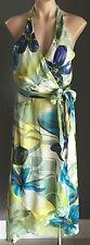 Silk F GEAR Green & Multi Coloured Tropical Print Halter Neck Dress Sizes 10 &12