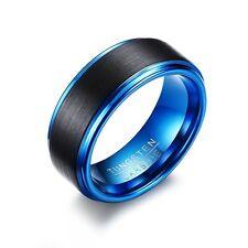 Wolfram Tungsten Carbid Ring Schwarz Blau Partner Verlobung Hochzeit Ringe Edel