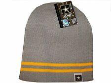 Grey Gold Army Star Logo Military US Watch Stocking Cap Beanie Winter Stocking