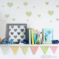 Semplice Cuori Muro Stencil giorno S. Valentino ragazze camera da letto lo stencil Studio