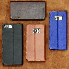 Premium Echt Leder Cover für Apple Samsung Huawei  Handy Schutzhülle Case Tasche
