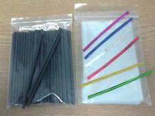 50 x 114mm BLACK PLASTIC LOLLIPOP STICKS CAKE POP KIT INCLUDES BAGS & TWIST TIES