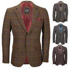 Mens Herringbone Tweed Check Blazer Vintage Tailored Fit Smart Designer Jacket