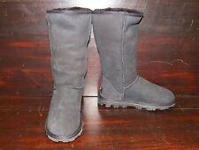 New Womens UGG Essential Tall Black Sheepskin Warm Winter Boots Rugged Heel
