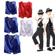 Boys Girls Sequined Vest Waistcoat for Dance Party Show Costume Modern Dancewear