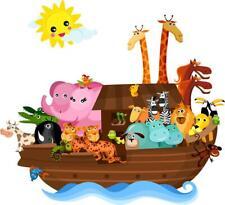 NOAH'S ARK Decal Removable WALL STICKER Home Decor Art Kids Cartoon Animals