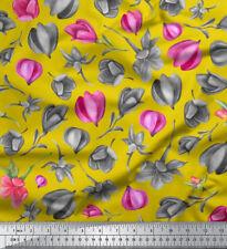 Soimoi Fabric Magnolia Bud Floral Print Fabric by Meter - FL-828G