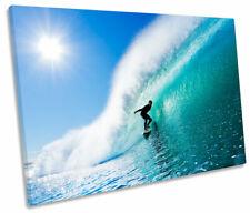 Surfista Beach Wave Surf SINGLE LONA pared arte Foto impresión